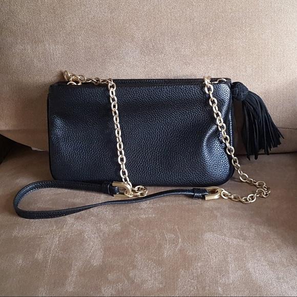 0732216fe2b New Ann Taylor Black Leather Crossbody Bag Purse